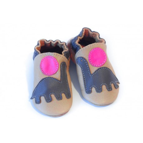 Chaussons - dinosaure - fuxia