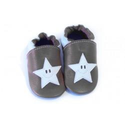 Soft slippers - star smile - fog