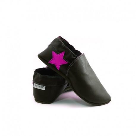 Soft slippers - star in heel - nero