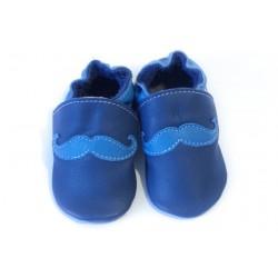 Soft slippers - mustache - blu marino