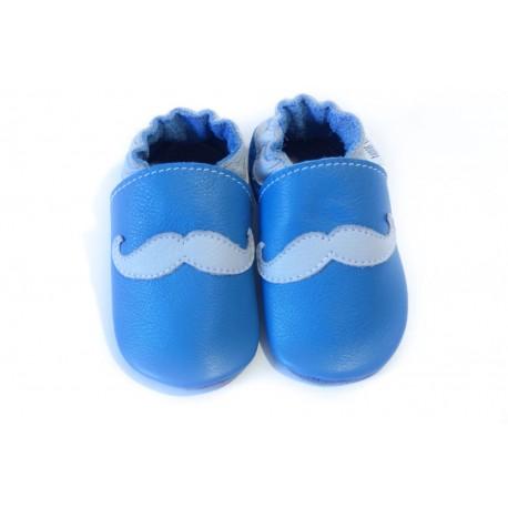 Chaussons - moustache - jeans