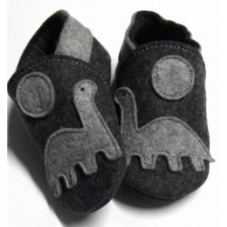 Anthracite gray natural merino felt slippers - dinosaur