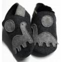 Capačky merino - dinosaurus - tmavo šedé