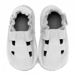 Summer leather slippers - bianco