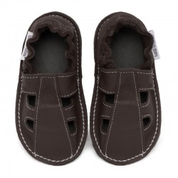 Summer leather shoes - taupe