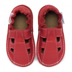 Summer leather shoes - rosso fueco
