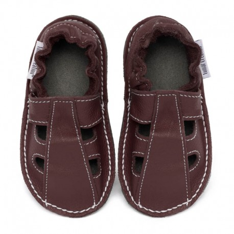 Summer leather shoes - bordo