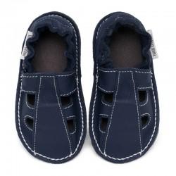 Summer leather shoes - blu marino