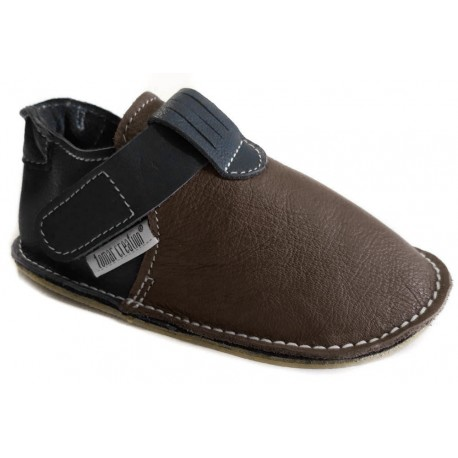 Leather slippers with rubber sole and velcro