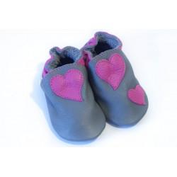 Soft slippers - heart - fog