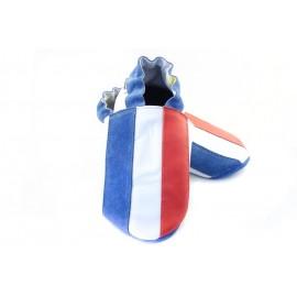 Chaussons cuir souple drapeau de la France