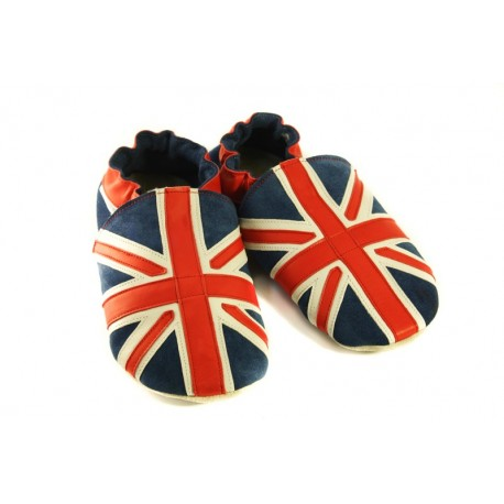 Chaussons cuir souple drapeau du Royaume-Uni