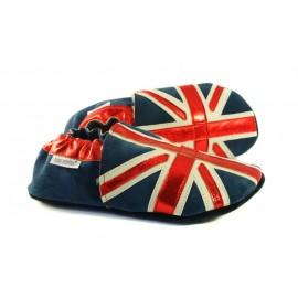 Chaussons cuir souple drapeau du Royaume-Uni - modèle EXCLUSIF