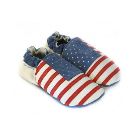 Chaussons cuir souple USA / drapeau des États-Unis