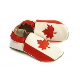 Chaussons cuir souple drapeau du Canada