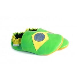 Chaussons cuir souple drapeau du brésil