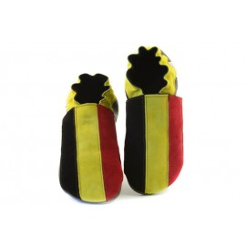 Chaussons cuir souple drapeau de la Belgique