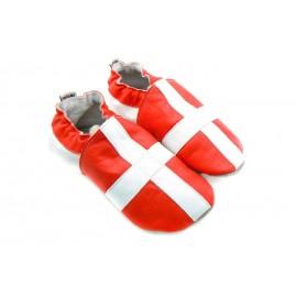 Chaussons cuir souple drapeau de la Suisse / Savoie