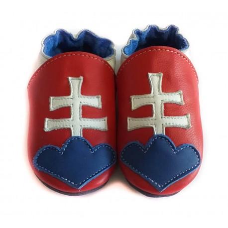 Chaussons cuir souple drapeau de la Slovaquie