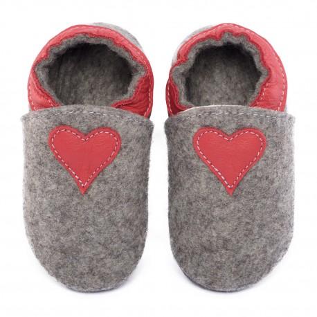 Chaussons laine mérinos gris