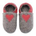 Chaussons en mérinos gris avec coeur rosso fueco