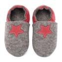 Chaussons en mérinos gris avec étoile rosso fueco