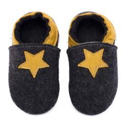 Merino slippers black with star - girasole