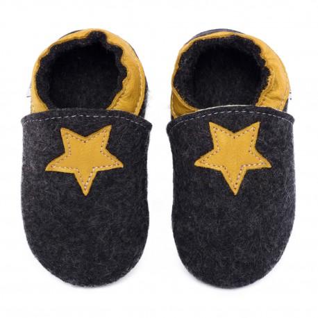 Chaussons en mérinos noir avec étoile girasole