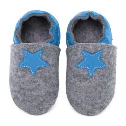 Chaussons en mérinos gris avec étoile - jeans