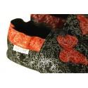 Capačky - červenočierne striebristé s motýľom