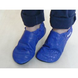 Soft leather slippers - blue croco