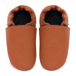 Soft leather slippers - brandy