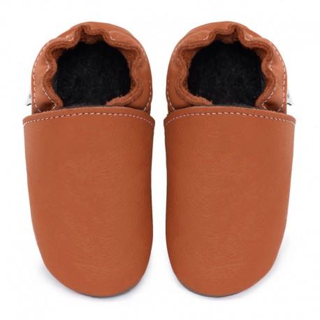 chaussons cuir - brandy