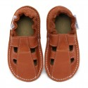 Summer leather shoes - brandy