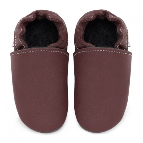 chaussons cuir - fuxia